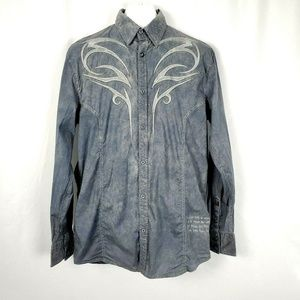 Roar Buckle Shirt Button Up Embroidered Y1208